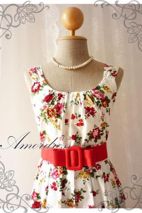 Blooming - Exotic Floral Dress White Dress with Red Floral Summer Perfection Tea Dress Party Garden Wedding Cocktail Dress -S-M-