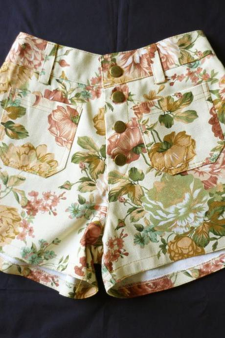 High Waist Shorts Floral Shorts Cream Brown with Brown Nude Brown Pink Floral Inspired Shabby Chic Shorts - -Size S-M- 12'SHORT LENGTH