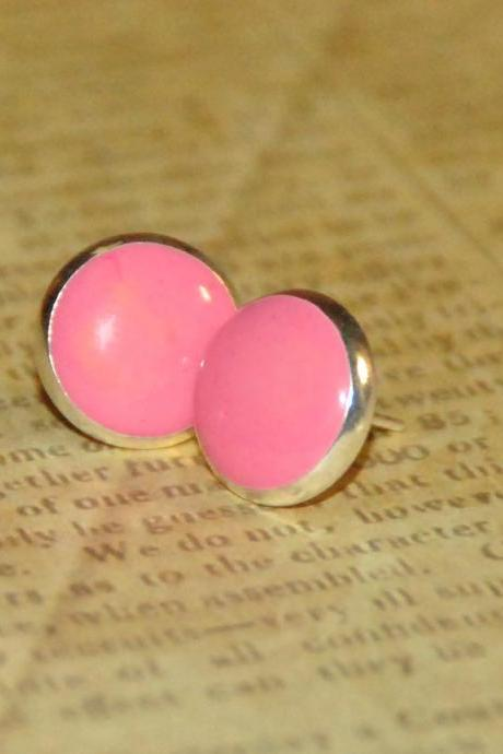 Pink Dot Resin Post Silver Earrings