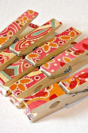 Decorative Clothespins, Large paisley and floral design, Set of 5 hand decorated pins, clips, organizers