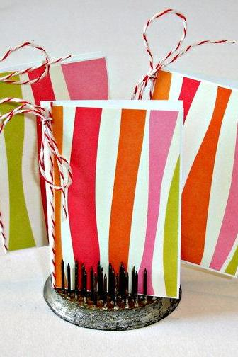 Handmade mini cards, 2X3 cards Bright retro stripes design Set of 8 no envelopes, Blank note cards Greeting cards