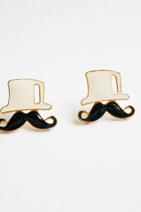 White Hat and Black Mustache Stud Earrings - Gift for Her - Gift under 10