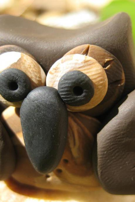 Choco the Owl - Polymer clay figurine