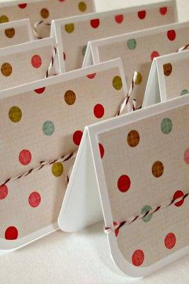 Handmade mini cards, 2X3 cards Tiny polka dots, Set of 8 cards and pocket envelopes