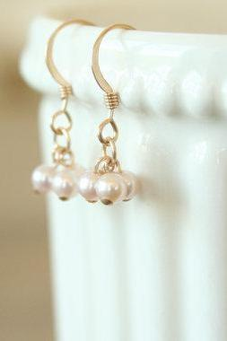 Pink Pearl Cluster Earrings