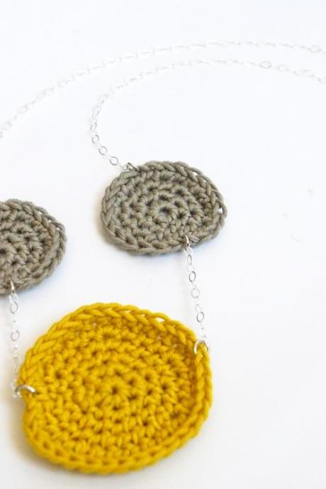 Sterling Silver Geometric Necklace Grey Mustard Crochet Disc Cottage Chic Spring Summer Accessories by SteamyLab