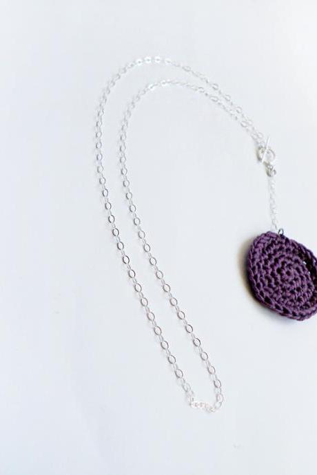 Lariat Sterling Silver Geometric Necklace Crochet Purple Cottage Chic French Cotton Spring Summer Collection by SteamyLab