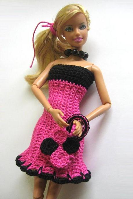 Doll Dress with Matching Bag for Barbie Doll Crocheted In Pink and Black
