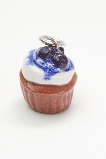 Miniature Blueberry Cupcake Charm - Plain