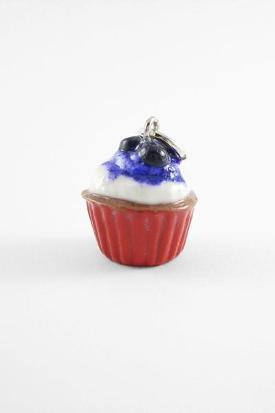 Miniature Blueberry Cupcake Charm Red