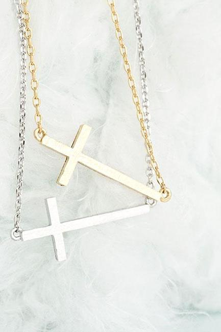 Tiny Skinny Sideways Cross Necklace, Gold / Silver Option