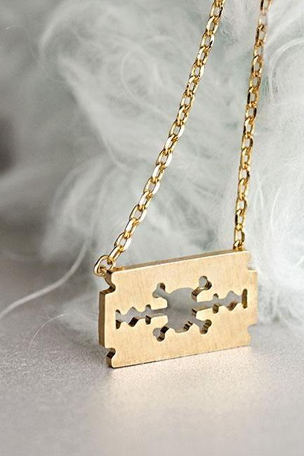 Gold Razor Blade Necklace, Skull Skeleton Cross Bones Cutout Charm