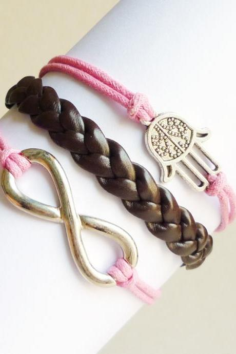 Large Silver Plated Infinity Pink Bracelet,Hamsa Hand in Pink Bracelet and Braided Faux Leather Bracelet - Friendship Bracelet - Gift under 15