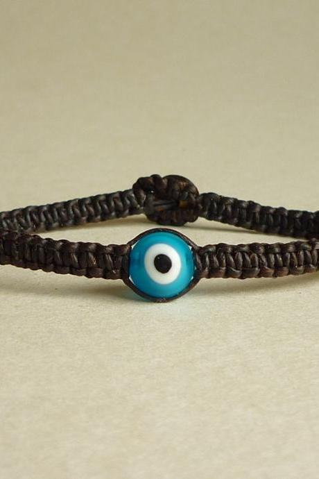 Bright Blue Evil Eye with Black Wax Cord Friendship Bracelet - Gift under 10