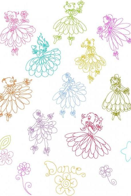 Set of 15 Redwork Garden Ballet Fairy Dancers 2 sizes indcluded 4X4 & 5X7 Machine Embroidery Designs