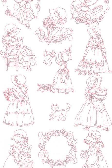 Set of Twelve 5X7 SunBonnet Girls Redwork Machine Embroidery Designs