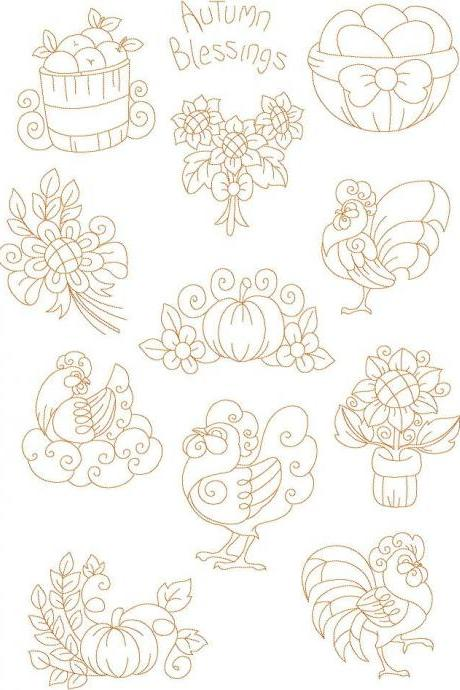 Set of Thirteen Country Quilter 5X7 Redwork Machine Embroidery Designs roosters chickens eggs sunflowers Autumn pumkins