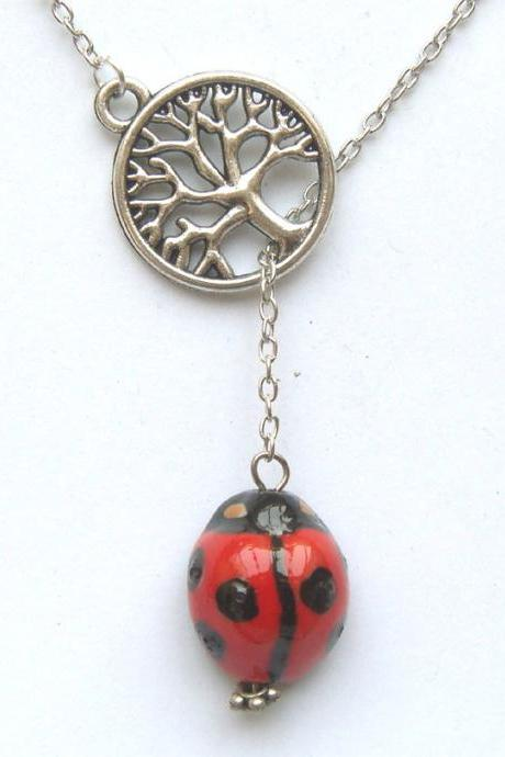 Silver Tree Porcelain Ladybug Lariat Necklace