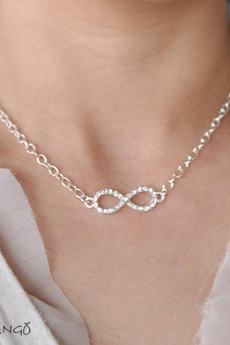 Silver infinity Necklace, everyday, infinity jewelry, everlasting love, enternity, gift BFF, rhinestone infinity charm, Toggle Clasps