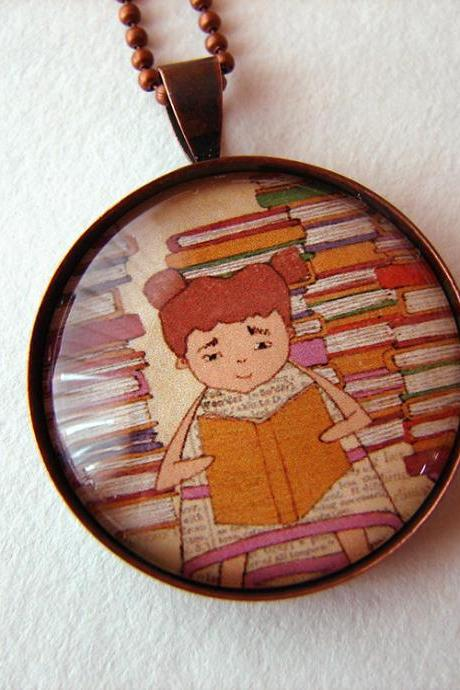 Girl reading pendant necklace with chain