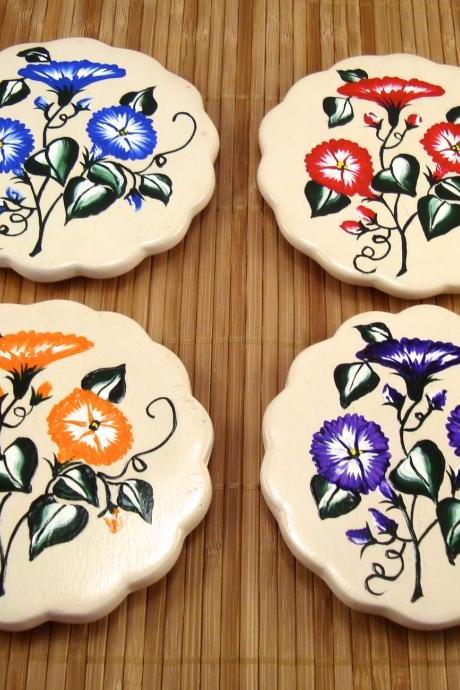 Spring Flowered Tile Coasters