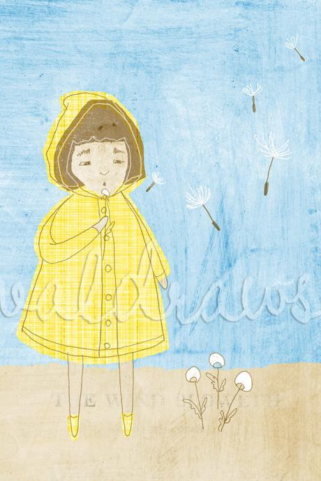 Blowing dandelion print Yellow and blue print Girl in yellow slicker on blue blowing dandelion The Wind Bloweth 5 x 7 print