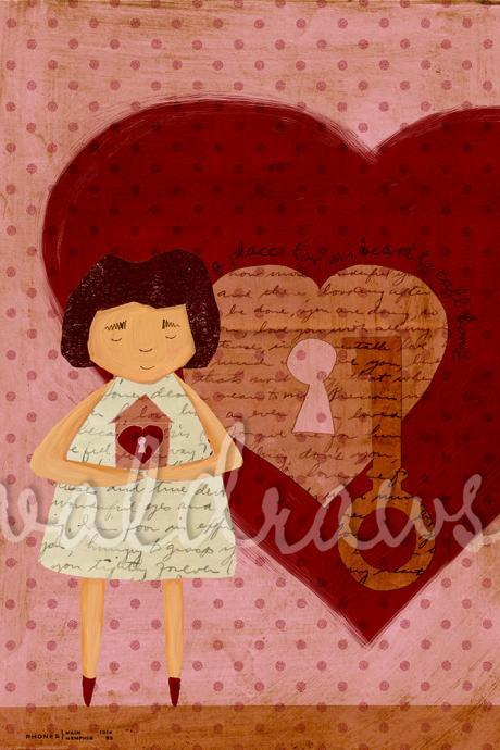Girl holding house near heart on large red heart and polka dot background - A Place For My Heart To Call Home - 5 x 7 print
