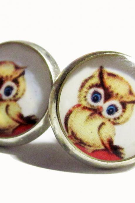 Blue Eyed Owl Resin Post Silver Earrings