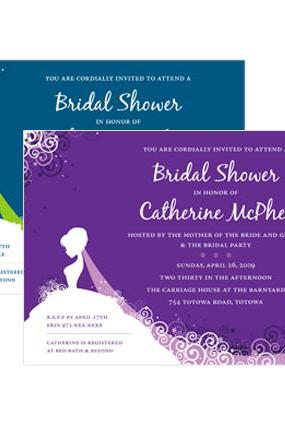 Elegant Bride Shower Invitations - Custom Colors