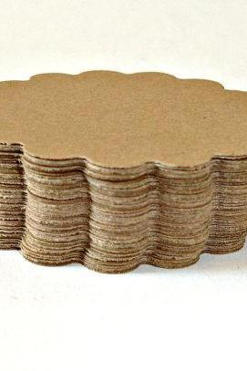 Scallop circles, Brown kraft Embellishment, Scrapbooking Top Notes Mini Notes 4 Dozen