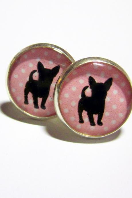 Chihuahua on Pink Dots Silver Resin Post Earrings