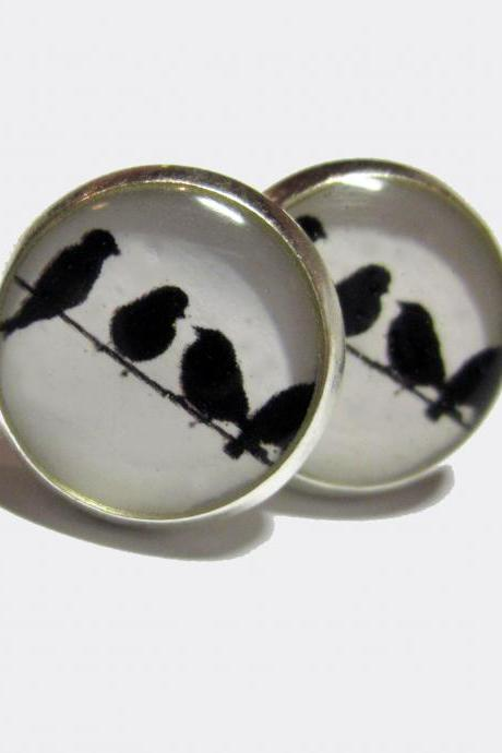 Birds in a Row Silver Resin Post Earrings