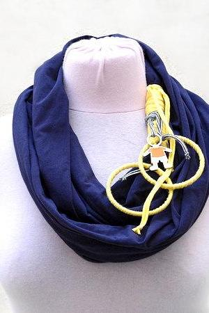 Dark Purple Loop Scarf,Cotton Jersey Scarf Necklace, Spring Summer Fashion, Circle Scarf Infinity