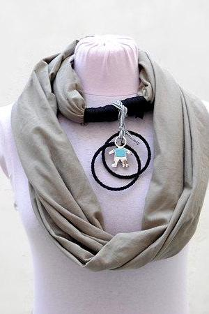 Khaki Scarf Necklace, Cotton Jersey Long Scarf, Super Gift, Circle Scarf Infinity, Women Teen