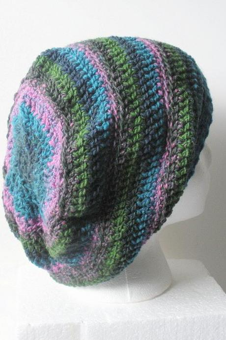 Crochet Hipster Slouch Hat in pink, green,turquoise, and navy stripes, ready to ship.