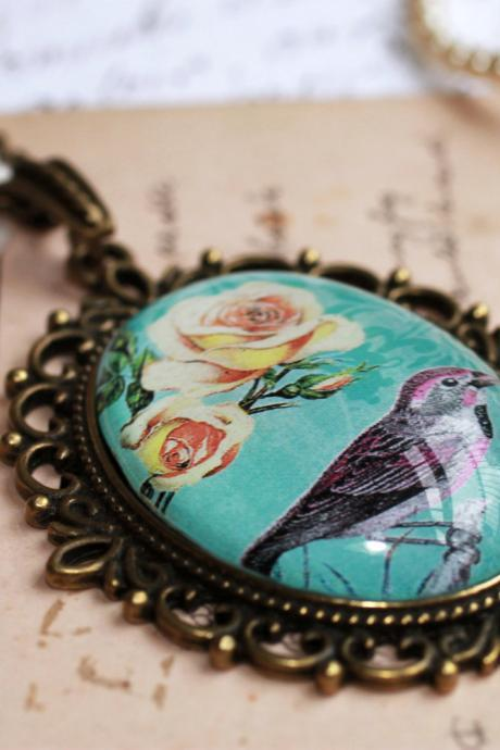 Blue bird necklace, mint green necklace, glass cameo necklace, bird jewelry