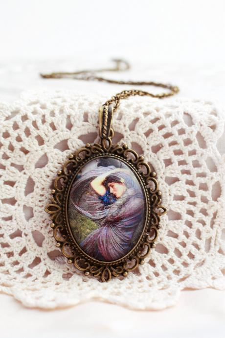Pre raphaelite, fine art necklace, romantic pendant, Boreas, John Waterhouse