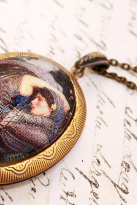 Glass pre-raphaelite locket, picture locket, preraphaelite locket, John Waterhouse, wearable art