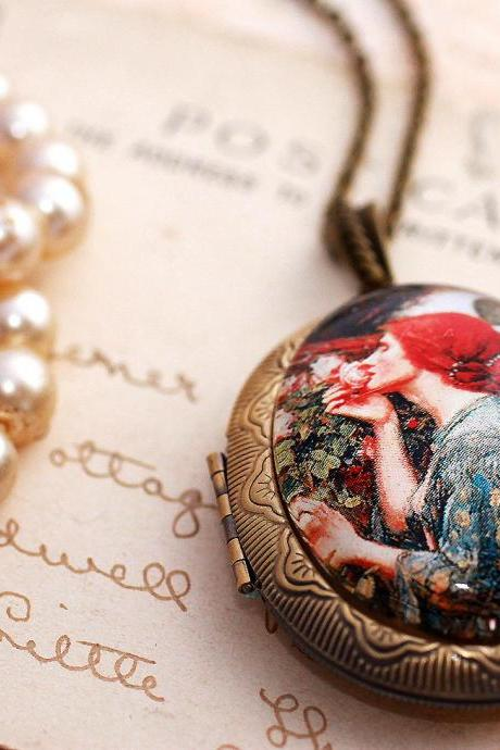 Pre Raphaelite photo locket, bronze picture locket, wearable art pendant, the soul of the rose, John Waterhouse