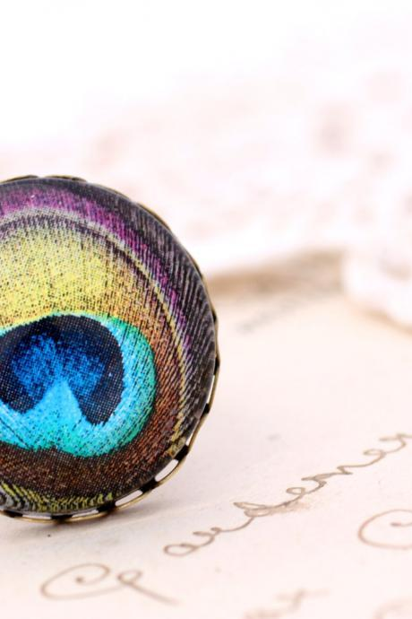 Jewel tone peacock ring, purple peacock feather ring, Victorian jewelry, boho jewlery