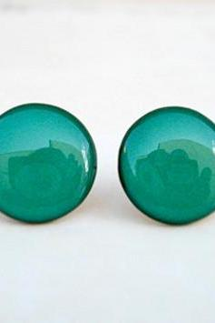 Teal Earring Studs, Green Stud Earrings, Small Earrings Handmade By Jugosa