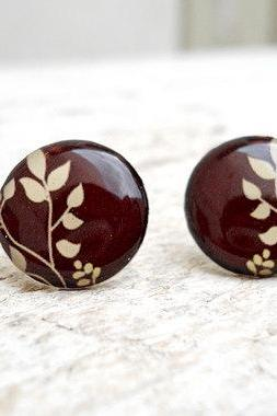 Brown Cream Ivory Botanical Stud Earrings, Awesome, Cute Jewelry
