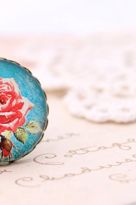 Red rose ring, blue rose ring, blue floral ring, romantic photo ring, romantic jewelry