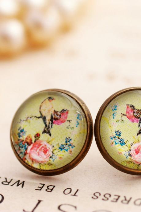 Glass bird stud earrings, green and pink earrings, pink floral earrings, spring, birds and flowers, pink roses, pale green