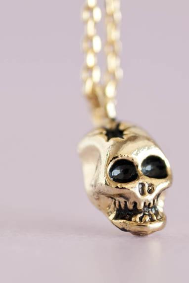 Gold Skull Necklace, Skeleton Charm, Creepy Cute Jewelry