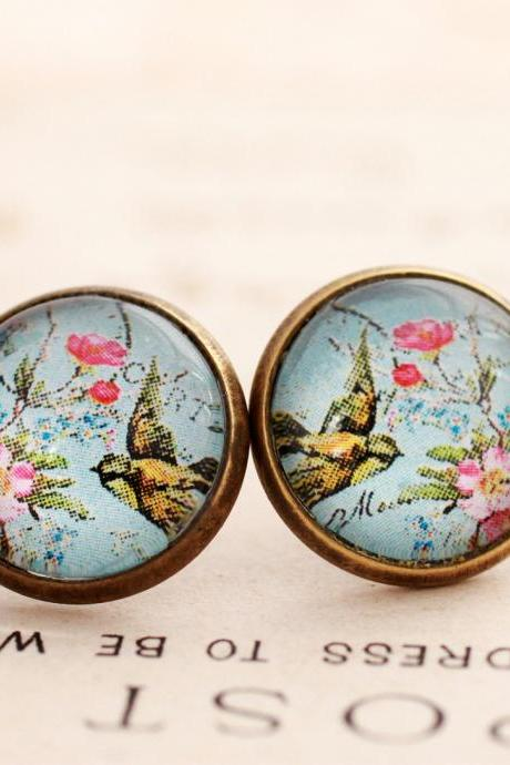 Blue floral bird earrings, colorful flower studs, pink and blue earrings, bird jewelry, nickel free earrings