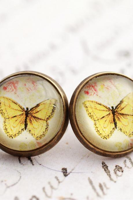 Yellow butterfly earrings, glass dome earrings, butterfly earrings, nickel free, spring