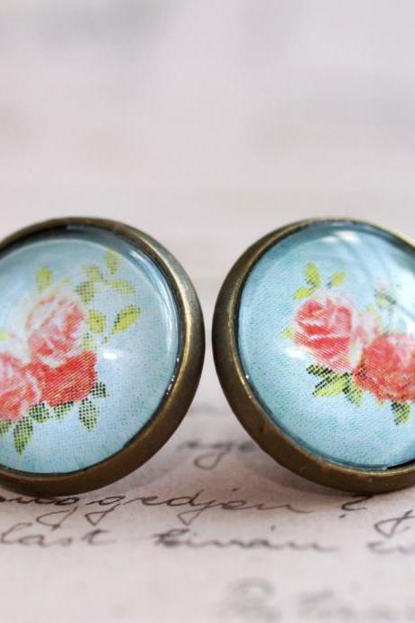 Pink rose earrings, pink rose stud earrings, glass rose stud earrings