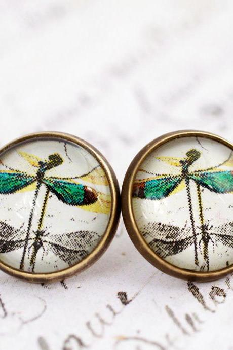 Green dragonfly earrings, dragonfly stud earrings, glass dome earrings, steampunk, victorian, jewel tone