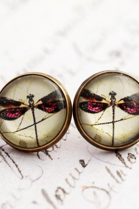 Purple Dragonfly earrings, steampunk earrings, glass dome earrings, nature jewelry, Victorian